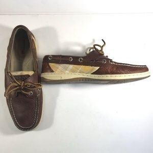 Sperry Top-sider yellow plaid and brown